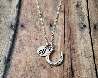 Horseshoe initial necklace - horseshoe jewelry, lucky horseshoe necklace, rodeo necklace, horse racing jewelry, horse jewelry, rodeo jewelry