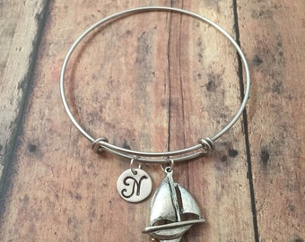 Sailboat initial bangle- sailboat jewelry, nautical jewelry, sailing bangle, nautical bracelet, sail boat bracelet, sailing jewelry