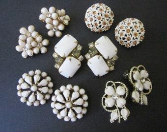 Earrings DeStash 5 pairs Rhinestone Clips summer whites