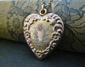 Vintage Gold-Filled Heart Locket Necklace tri-color locket Carl-Art 1940s