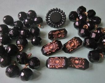 Vintage Black Glass Buttons antique buttons