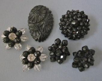 DeStash Black Bakelite and Bead Jewelry