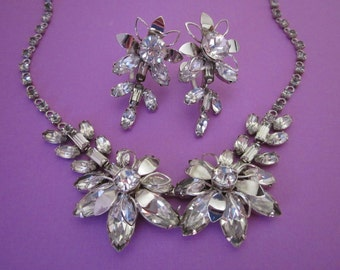 Rhinestone Necklace and Earrings Set signed Duane