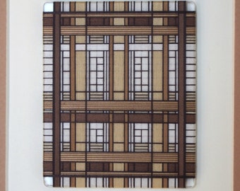 Framed Thread Wrapping with Warm Brown in a Dark Brown Craftsmen style Frame with Double Matte