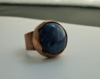 Hand forged copper ring with round sodalite cabochon size 7 US - copper jewelry - copper ring - stone ring - CLEARANCE SALE