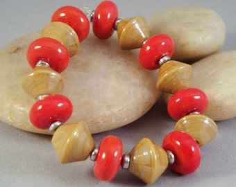 Thai Curry Sandalwood Ivory Bright Red Set of Bicone and Donut Lampwork Glass Beads by Solaris Beads 2570