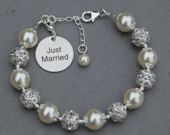 Just Married Gift, Just Married Charm Bracelet, Brides Jewelry, Newlywed Gift, Romantic Wedding