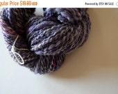 june flash sale Half Skein of Mooncake! Handspun Purple and Grey Yarn in Merino, Silk, Bamboo, Alpaca. Mooncake. About 80 Yards. Thread-plie