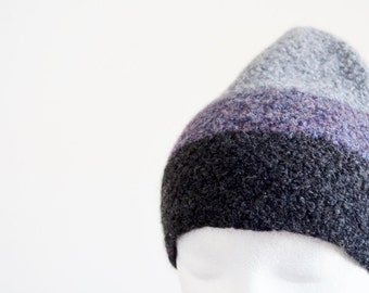 Felted Cap - Colorblock Knit and Fulled Beanie in Purple, Grey, Darker Grey. Pixie Pointed Felt Beanie.