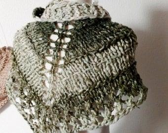 Forest & Frost Mini Shawlette - Chunky Knit Handspun Handknit Triangle Scarf or Mini Shawl. Green, Cream, Textured, Lace. Mori Girl Fall