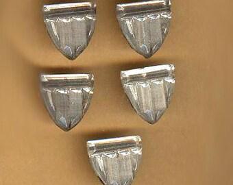 vintage foil glass cabochons SHIELD SHAPE foil back FIVE fun cabochons antique glass cabochons