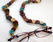 Eyeglass Chain in Vintage Buttons Turquoise, Tan and Brown