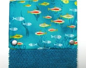 Hanging towel, Hand towel, Kitchen towel, bathroom towel, oven, snap on towel, guest towel,  camper, 100% cotton, Fishy, fishy