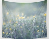 wall tapestry- nature photography wall hanging- flower photo wall art- soft blue and yellow- modern wall decor