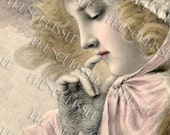 Blonde Thinking Beauty with Glove Antique French Illustrated Postcard  Digital Scan