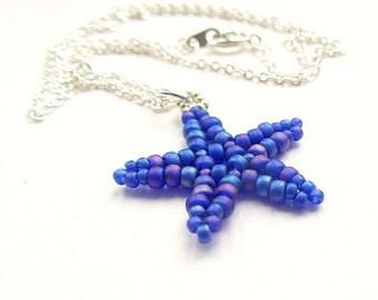 Beaded Starfish Pendant, Cobalt Blue