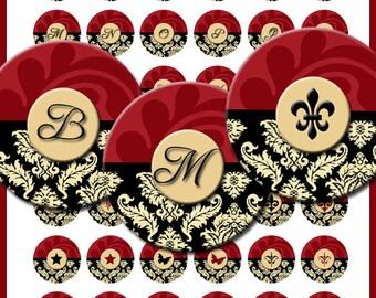 Commercial Use Damask Monograms Fleur de lis 1 Inch Bottle Cap Circles Necklace Pendants Stickers Images Digital Download Collage Sheet No38