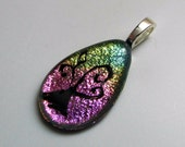 Dichroic Glass Jewelry - Family Tree Necklace Pendant - Dichroic Tree - Fused Glass Jewelry - Etched Glass Design