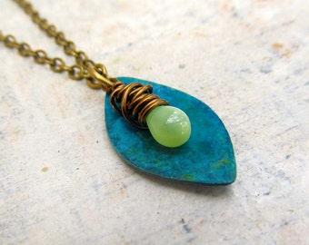 Unique necklace blue green patina pendant necklace Bohemian jewelry