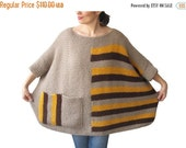 CLEARANCE 50% SALE Plus Size - Over Size Sweater Beige, Brown, Yellow Hand Knitted Sweater with Pocket Tunic - Sweater Dress by Afra