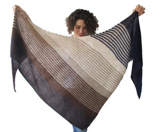 Hand Knitted Triangle Shawl Brown Navy Blue Beige