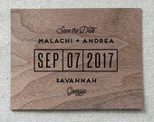 Wooden Save the Date Card, Modern Grid Real Wood