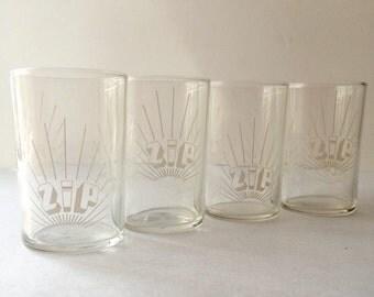 Zip Soda Promotional Advertising Juice Sip Glass set of Four