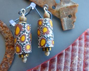 Millefiori Trade Bead Earrings