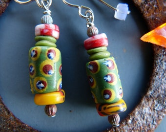 Pea Green Earrings Made with Vintage African Trade Beads