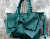 Leather Bow Handbag in Distressed Teal by Stacy Leigh