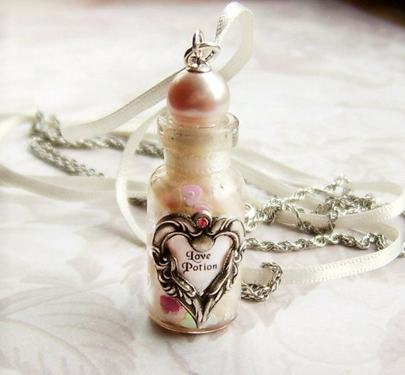 Love Potion Pearl Hearts Bottle Necklace