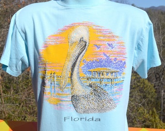 vintage 80s t-shirt FLORIDA pelicans beach resort tee shirt Medium soft thin teal