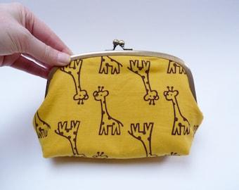 Cosmetic bag, yellow and brown giraffe fabric