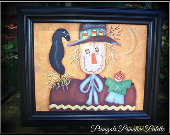 Primitive Fall Wall Art Scarecrow Framed Canvas Autumn Home Decor
