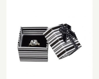 END of Year SALE 6 Pack Black and White Striped Black Foam Insert Ring Boxes