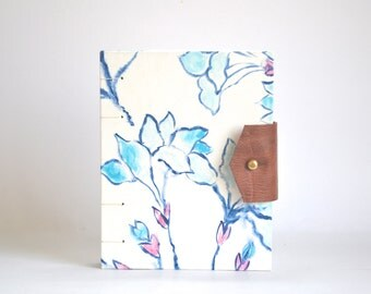Winter Flora Hardcover Journal, White Blue Pink Hand Bound Coptic Journal, Floral Handmade Journal with Reclaimed Leather and Brass Button