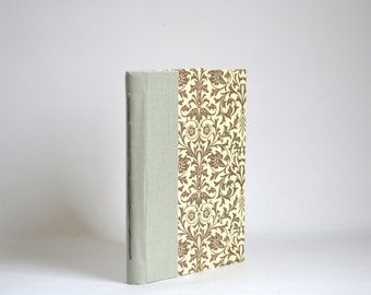 Brown Pocket Size Handbound Everyday Notebook, Florentine Pattern Hardcover Journal, Thin Hardcover Journal