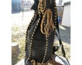CrudeCo Cylinder Back Pack - Black Biker Leather - Hand Built