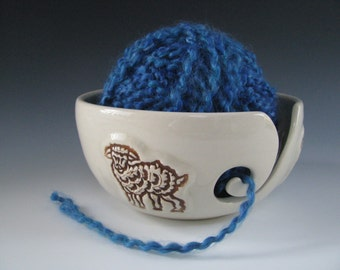 Ceramic Pottery Yarn Bowl Knitting Bowl in White with Brown Sheep