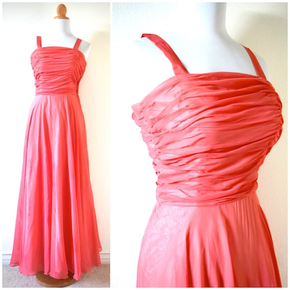 Vintage 50s 60s Watermelon Pink Ruched Chiffon Evening Gown (size xxs, xs)