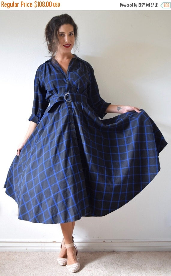 SUMMER SALE / 20% off Vintage 80s 90s does 50s Black and Blue Plaid Cotton Flannel FULL Circle Long Sleeved Shirt Waist Dress (size xs, smal