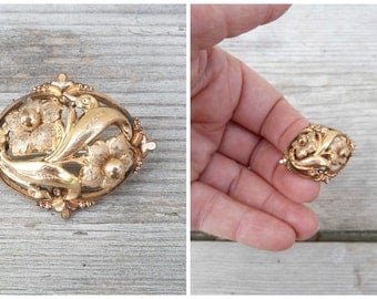 Vintage Antique 1890/1900 Victorian gold plated floral brooch