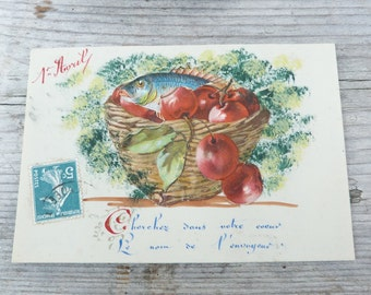 Antique 1900s  French cellulloid embossed die cut chromolitograph First of April postcard  Fish