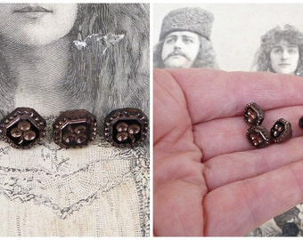 Vintage Antique 1890 French Victorian jet buttons black and copper color figures clovers set of 4