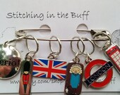 Merry Old England stitch markers on 10mm rings
