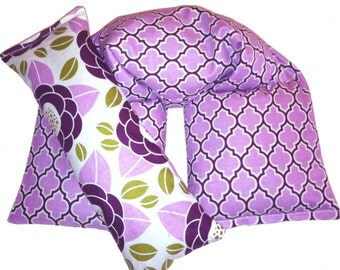 Hot Cold Therapy Wrap and Eye Pillow Heating Pad, Joel Dewberry, Bloom, Lodge Lattice Lilac - Flaxseed Rice Mix - UNSCENTED OR SCENT