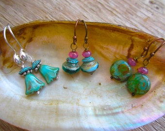 Turquoise earrings in a variety of styles, tulip, cupcake, or caribbean, specialty bead earrings