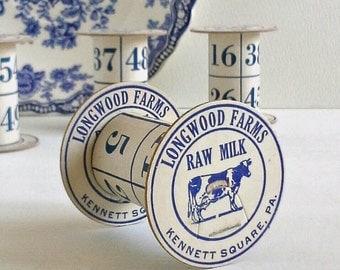 4 Blue & White Cow Dairy Milk Bottle Caps Bingo Cards, Handmade Spools for Ribbon, Dresden, Etc., Upcycled
