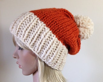 Knit Hat, Slouchy Beanie,   Pom Pom removable, Pumpkin and Fisherman