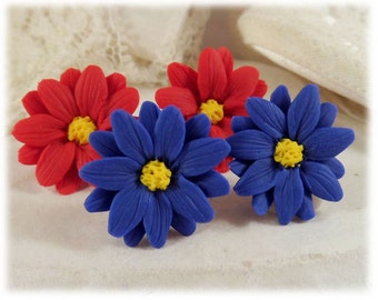 Aster Blue Flower Earrings Stud or Clip On - Aster Jewelry, Blue Daisy, September Birthday Birth Flower